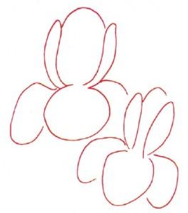 Как нарисовать цветы Ирисы поэтапно в 5 шагов. Шаг 1