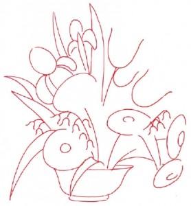 Как нарисовать Цветочную Композицию из полевых цветов поэтапно в 7 шагов. Шаг 1