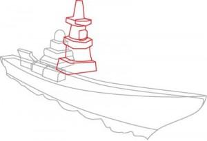Как нарисовать корабль Эсминец поэтапно в 8 шагов. Шаг 3.