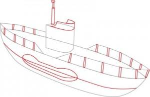 Как нарисовать подводную лодку поэтапно в 6 шагов. Шаг 3