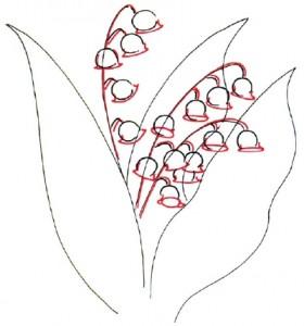 Как нарисовать цветы Ландыши поэтапно в 5 шагов. Шаг 3