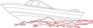 Как нарисовать катер поэтапно в 5 шагов. Шаг 4
