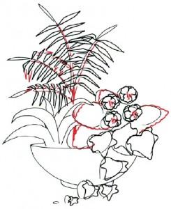 Как нарисовать Цветочную композицию поэтапно в 7 шагов. Шаг 4