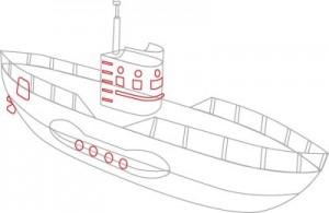 Как нарисовать подводную лодку поэтапно в 6 шагов. Шаг 4