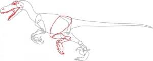 Как нарисовать Велоцираптор поэтапно в 6 шагов. Шаг 4