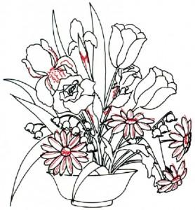 Как нарисовать Цветочную К5мпозицию из полевых цветов поэтапно в 7 шагов. Шаг 2