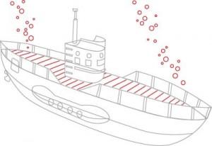Как нарисовать подводную лодку поэтапно в 6 шагов. Шаг 5