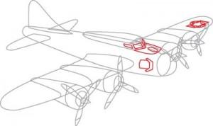 Как нарисовать самолет второй мировой войны поэтапно в 7 шагов. Шаг 5