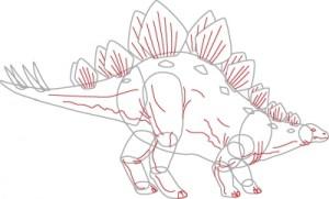 Как нарисовать динозавра Стегозавра поэтапно в 7 шагов. Шаг 6