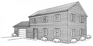 Как нарисовать кирпичный дом поэтапно в 5 шагов. Картинка 1.