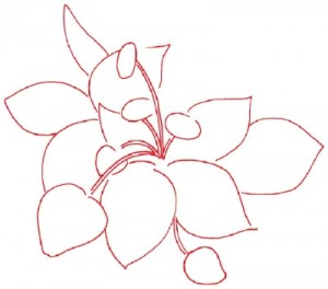 Как нарисовать Клубнику поэтапно в 5 шагов. Шаг 1