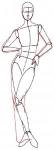 Как нарисовать человека поэтапно в 5 шагов. Девушка в вечернем платье. Шаг 2