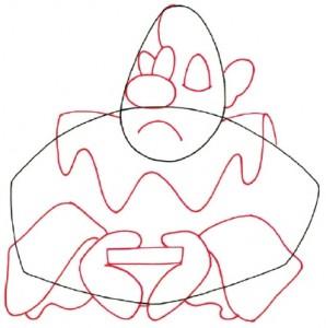 Как нарисовать Грустного клоуна поэтапно в 5 шагов. Шаг 2.