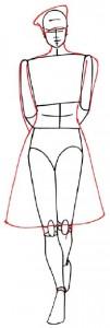 Как нарисовать Девушку в юбке и пиджаке поэтапно в 5 шагов 3