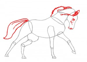 Как нарисовать Лошадь поэтапно в 4 шага 4