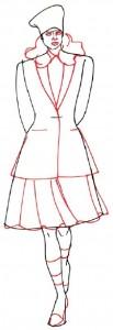 Как нарисовать Девушку в юбке и пиджаке поэтапно в 5 шагов 4