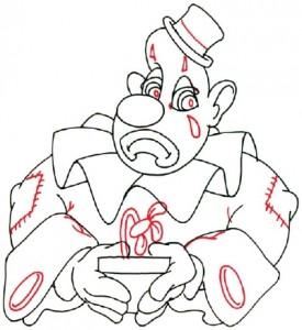 Как нарисовать Грустного клоуна поэтапно в 5 шагов. Шаг 4.