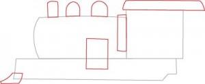 Как нарисовать Паровоз поэтапно в 7 шагов 3