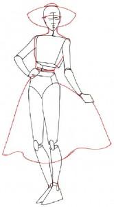 Как нарисовать Девушку в сарафане поэтапно в 5 шагов 3