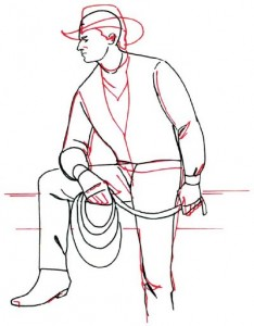Как нарисовать Ковбоя поэтапно в 5 шагов 4
