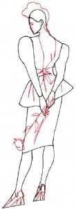 Как нарисовать Девушку в коктейльном платье 4