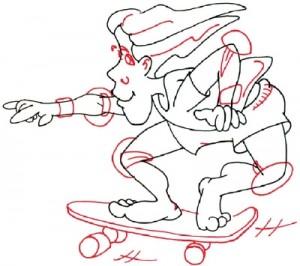 Как нарисовать скейтбордиста поэтапно в 5 шагов 5