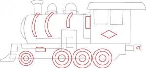 Как нарисовать Паровоз поэтапно в 7 шагов 5