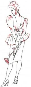 Как нарисовать Девушку в коктейльном платье 5