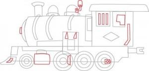Как нарисовать Паровоз поэтапно в 7 шагов 6