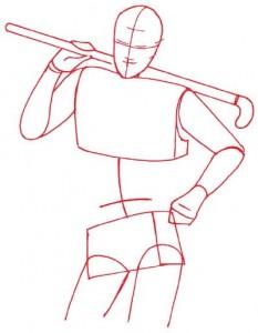Как нарисовать Хоккеиста поэтапно в 5 шагов 2