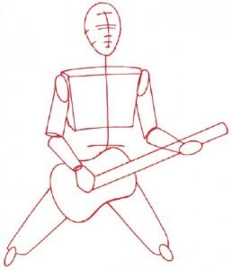 Как нарисовать человека с гитарой поэтапно в 5 шагов 2