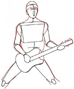Как нарисовать человека с гитарой поэтапно в 5 шагов 3