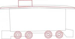 Как нарисовать Тормозной вагон поезда поэтапно в 6 шагов 3