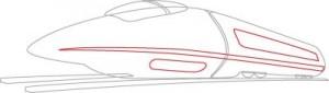 Как нарисовать Сверхскоростной поезд поэтапно в 6 шагов 4