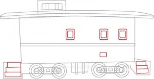 Как нарисовать Тормозной вагон поезда поэтапно в 6 шагов 5