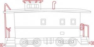 Как нарисовать Тормозной вагон поезда поэтапно в 6 шагов 6