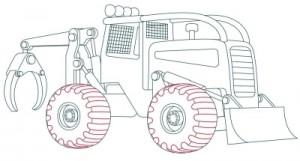 Как нарисовать машину. Трактор поэтапно в 10 шагов 10