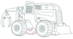 Как нарисовать машину. Трактор поэтапно в 10 шагов 11