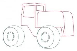 Как нарисовать машину. Трактор поэтапно в 10 шагов 3