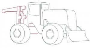 Как нарисовать машину. Трактор поэтапно в 10 шагов 5