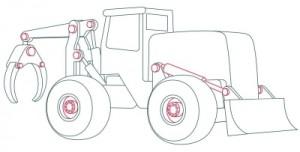 Как нарисовать машину. Трактор поэтапно в 10 шагов 7