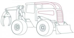 Как нарисовать машину. Трактор поэтапно в 10 шагов 8