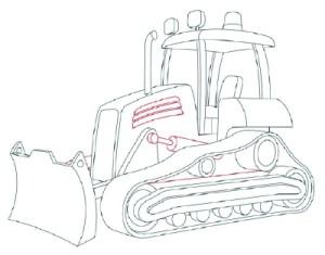 Как рисовать машины. Бульдозер поэтапно в 11 шагов 10