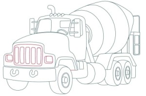 Как рисовать машины. Цементовоз поэтапно в 10 шагов 10