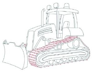 Как рисовать машины. Бульдозер поэтапно в 11 шагов 11