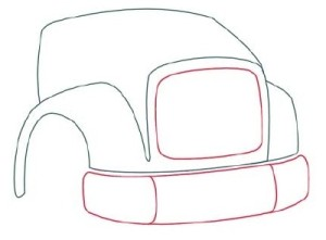 Как рисовать машины. Самосвал поэтапно в 11 шагов 3