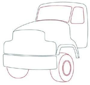 Как рисовать машины. Цементовоз поэтапно в 10 шагов 4