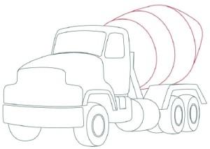 Как рисовать машины. Цементовоз поэтапно в 10 шагов 7