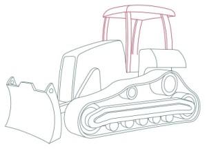 Как рисовать машины. Бульдозер поэтапно в 11 шагов 8