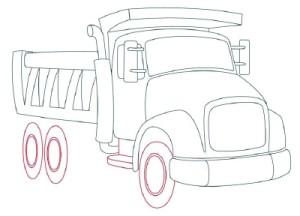 Как рисовать машины. Самосвал поэтапно в 11 шагов 8